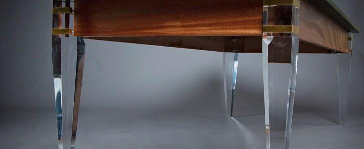 Ebonized walnut coffee table with acrylic legs by DIB Woodworking. Legs provided by Osborne Wood Products.