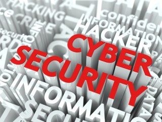 Cyber Security Concept. The Word of Red Color Located over Text of White Color..jpeg