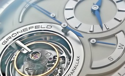 Grönefeld Parallax Timepiece seen through a Loupe from Loupe System