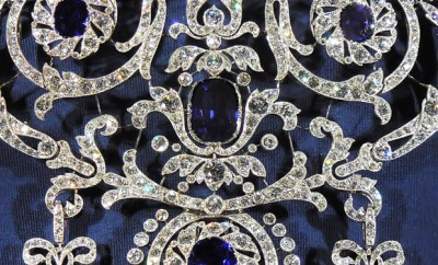 Edwardian Diamond & Sapphire Brooch by Cariter