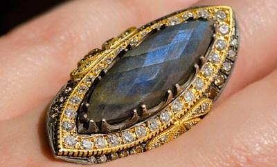Suneera Labradorite Empress Ring With 1.46ctw Diamonds   Oster Jewelers