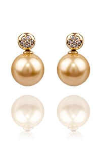 Oster Pearls Yellow Gold Golden Pearl .10ctw Diamond Earrings | Oster Jewelers
