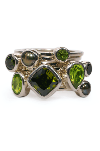 Janice Girardi 8 Green Stone Stacking Rings | Oster Jewelers Blog