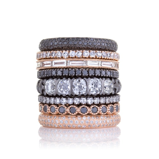 Black Diamonds and Rose Gold Stack By Sethi Couture at Oster Jewelers