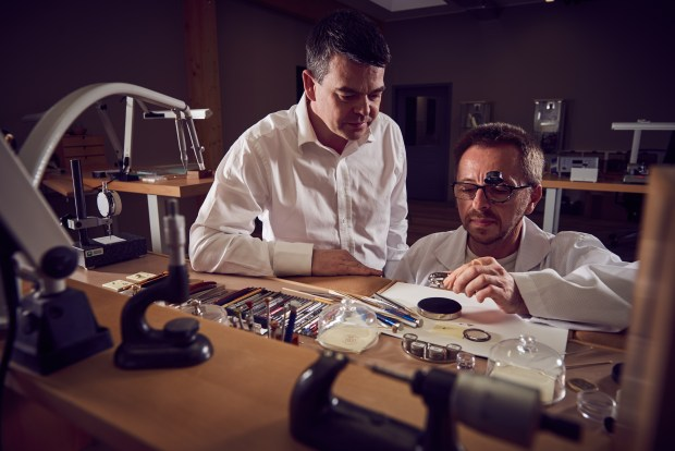 Romain Gauthier (left) in the Romain Gauthier Factory