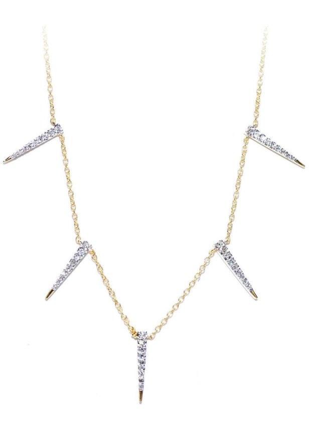21 Jordan Scott Diamond Yellow Gold Tapered Necklace