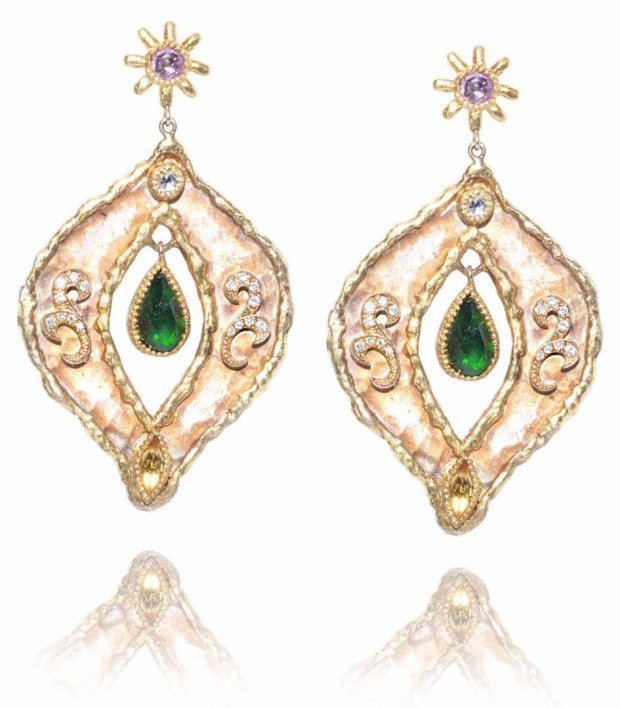 Victor Veylan Chrome Diopside Diamond & Sapphire Drop Earrings