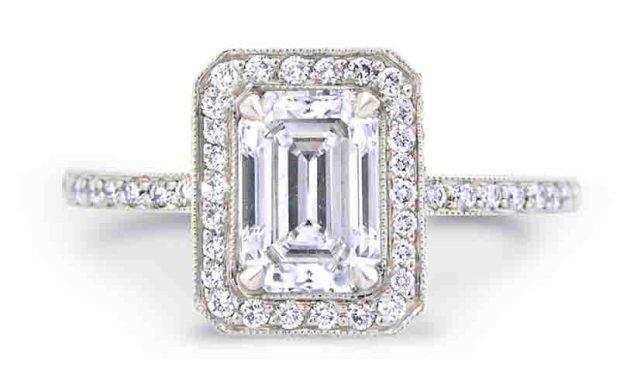 Louis Glick Diamond Halo Emerald Cut Ring