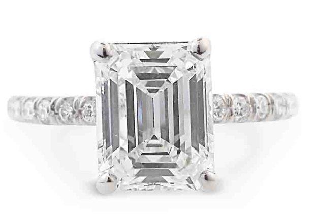 Louis Glick Diamond Emerlald Cut Ring