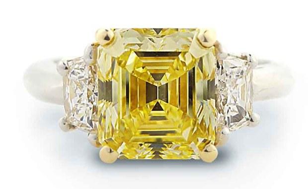 Louis Glick Fancy Yellow Diamond Ring