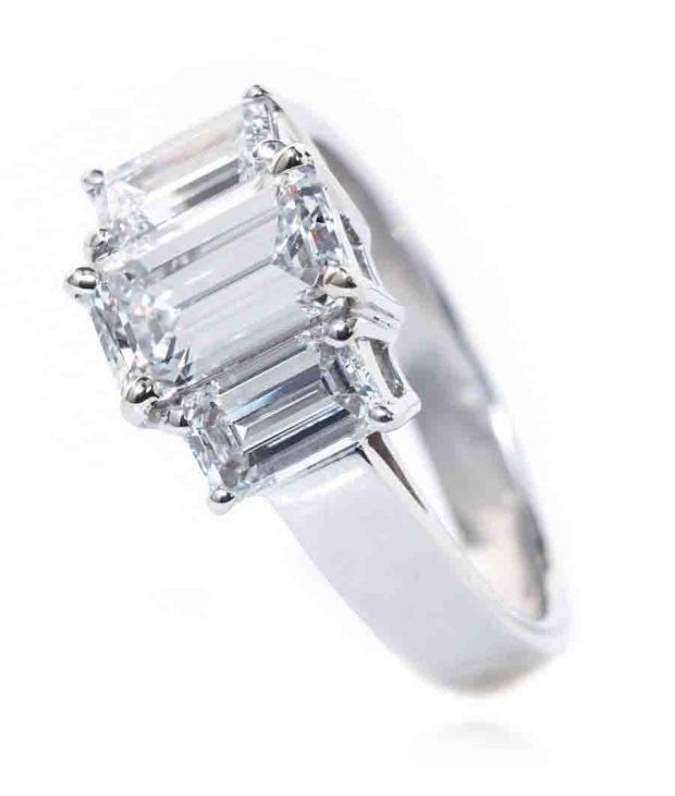 Louis Glick Emerald Cut Diamond Ring With Side Diamonds