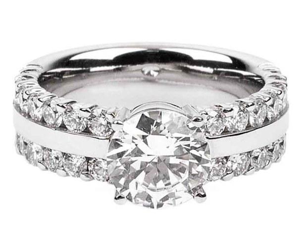 Furrer Jacot - Luciene Diamond 2 Row Platinum Semi-Mount Ring
