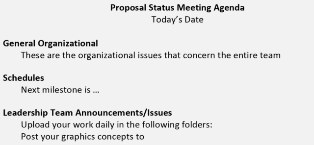 Proposal status meeting agenda to improve proposal management process