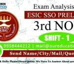 ESIC SSO Prelims 2018 - Exam Analysis - 3rd November - Shift 1