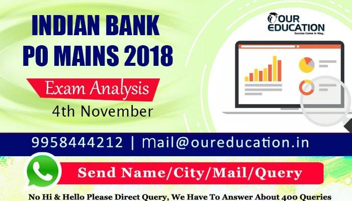 Indian Bank PO Mains 2018 - Exam Analysis 4th November 2018