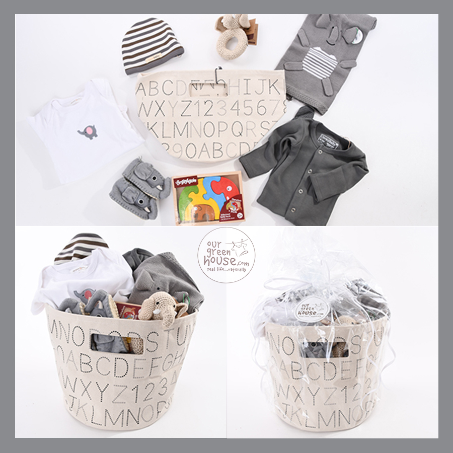custom corporate gift basket: elephant baby gift