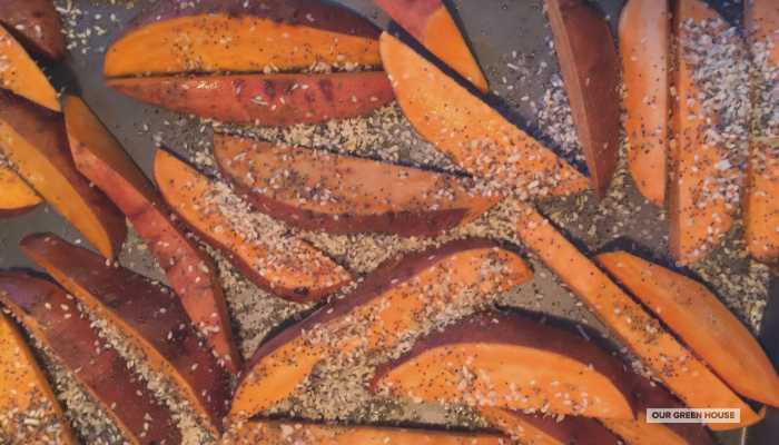 Roasting Sweet Potato Wedges