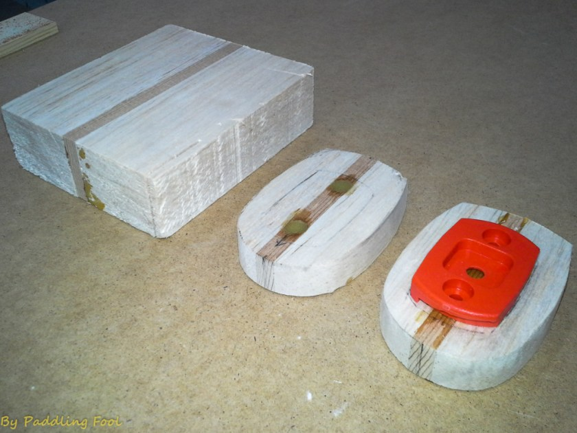 I had some balsa/WesternRedCedar scrap blocks leftover, which I decided to use in thie project. Initially I made two test prototypes which are in their very rough form here. Mast balse plate to give idea of shape