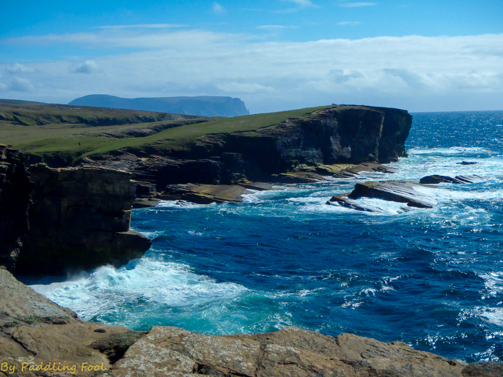 Orkney, Cliffs of Yesnaby. Hoy looms in the background