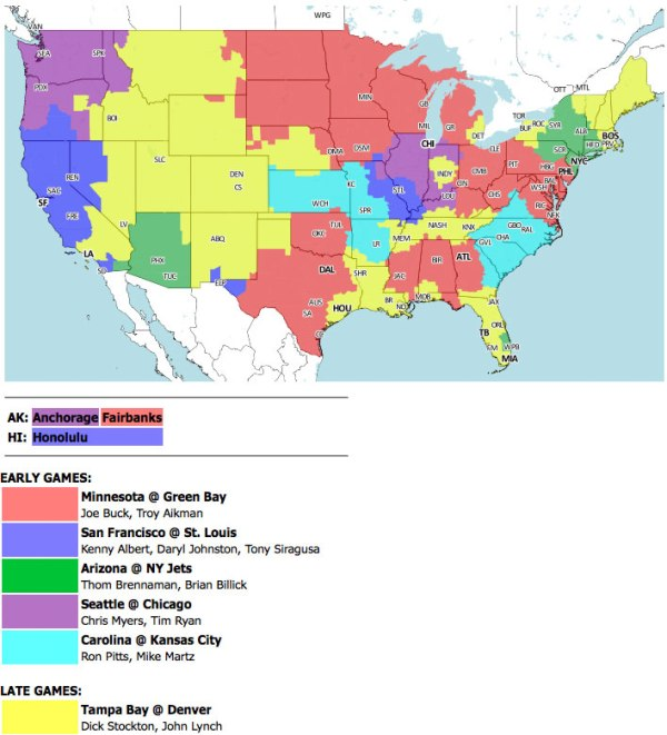 TV map for the Week 13 game between the Green Bay Packers and Minnesota Vikings