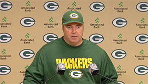 Green Bay Packers Head Coach Mike McCarthy reacts to Sunday's 23-14 victory over the Minnesota Vikings