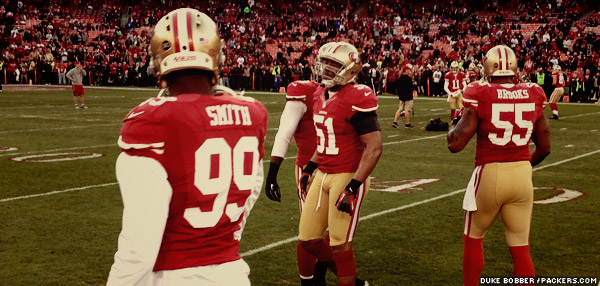49ers linebackers warm up prior to the game