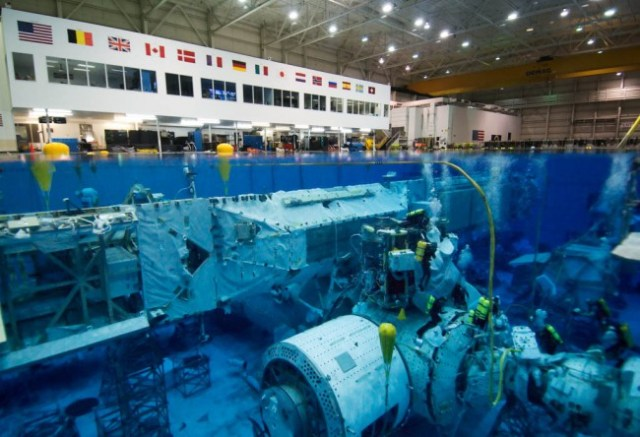 The NASA Neutral Buoyancy Lab in Texas, USA, where astronauts practise space scenarios while scuba diving in a pool