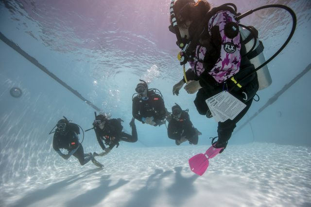 Dive instructor in pink fins leads a class in a pool