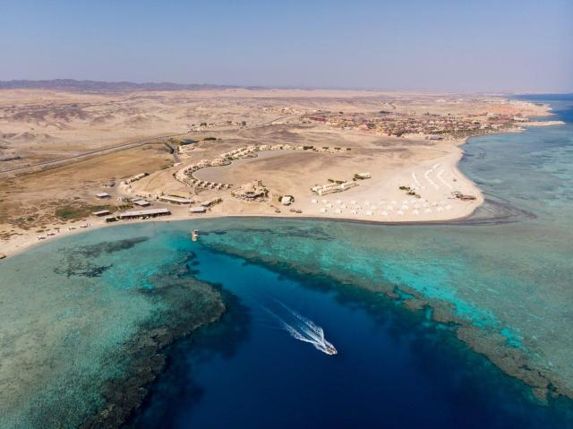 best house reef aerial shot of marsa shagra in egypt