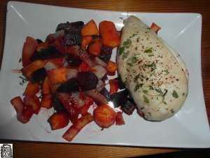 Pečená zelenina a kuřecí prso