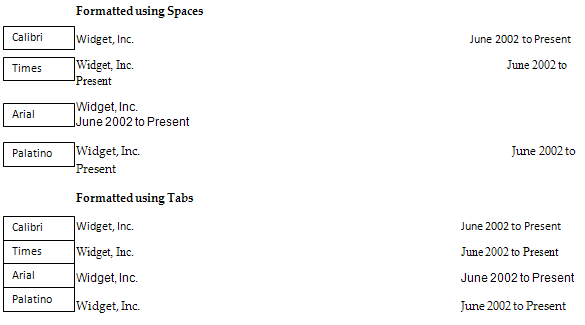 Even Though The Different Fonts Are Significantly Different Sizes (even  Though The Text Size Is 11pt For All Of The Choices), The Text Formatted  With Tabs ...  Resume Text Size