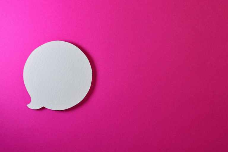 pink background with speech bubble