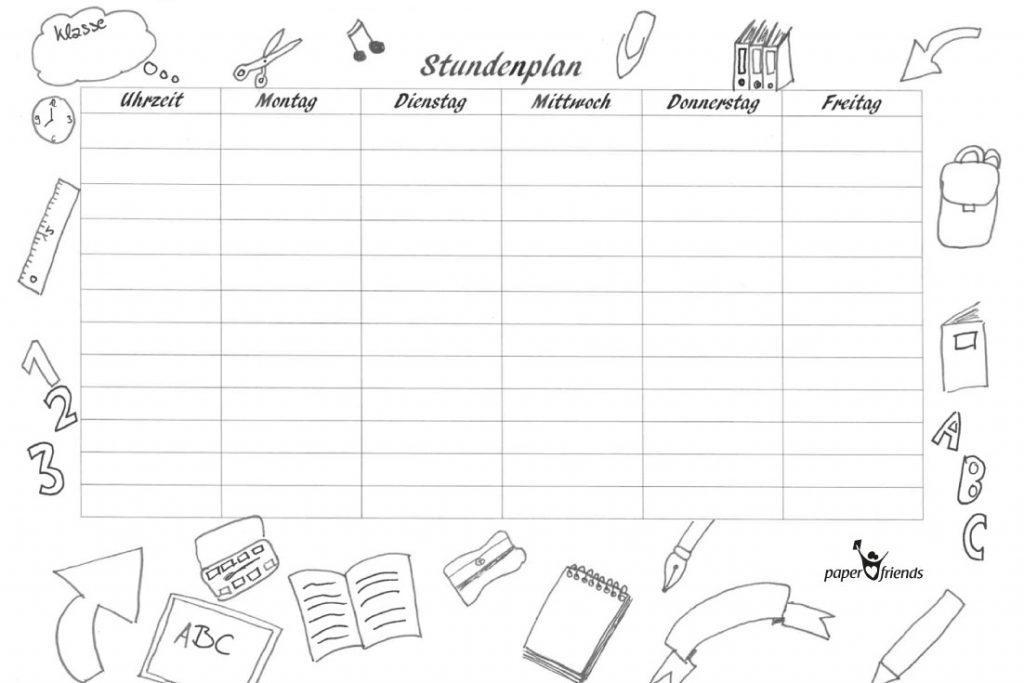 Stundenplan selbst gestalten paper friends blog