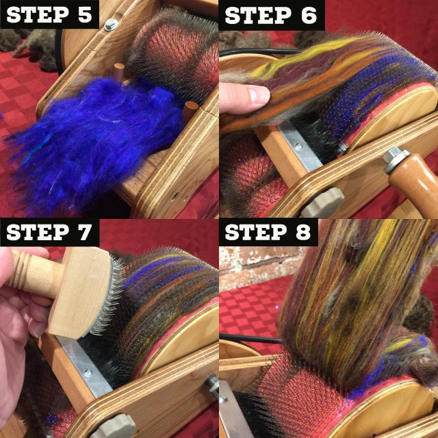 Loading more blue sari silk to create more of a blue tint, brushing more yaktober directly onto the large drum and smoothing the batt with a carder brush. Pulling the batt off.