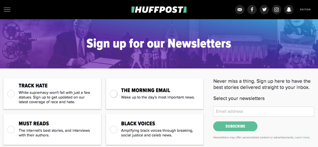 HuffPost newsletters