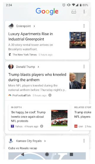 Google left of home screen