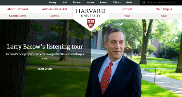 Harvard.edu homepage