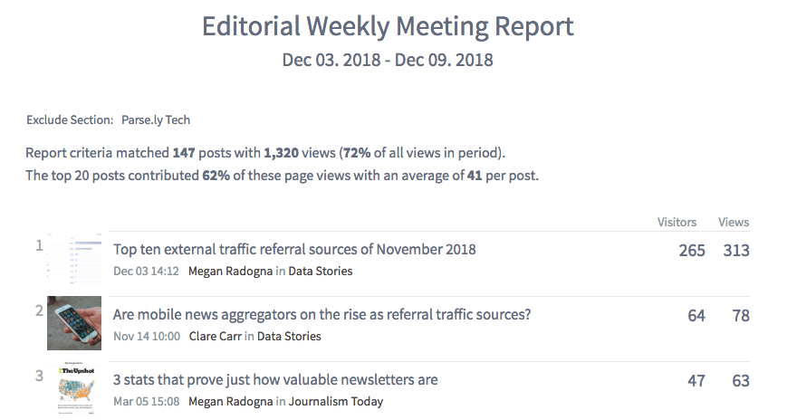 report for weekly editorial meetings
