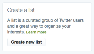 """Create a list"" button on Twitter"