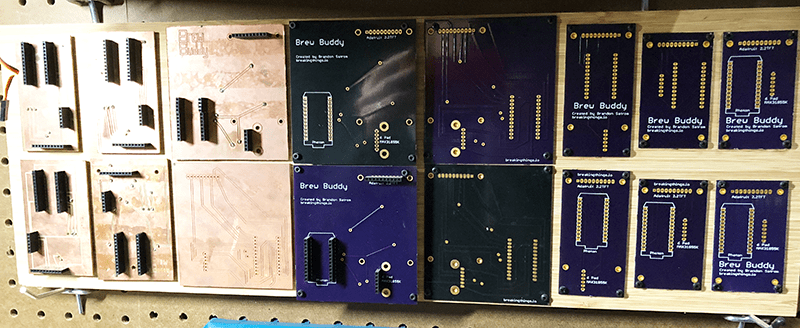 Various iterations of the Brew Buddy board