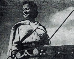 Purita Vizcaíno ataviada como Flavia Domicia.