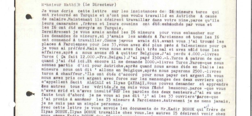 Lettre concernant l'envoi de travailleurs turcs en Belgique.