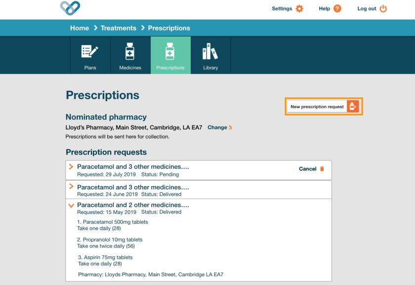 Prescriptions page copy