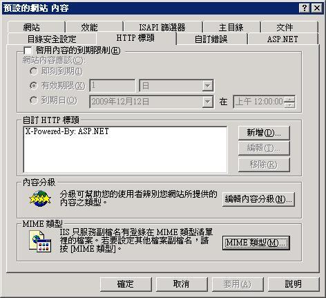HTTP 檔頭頁籤