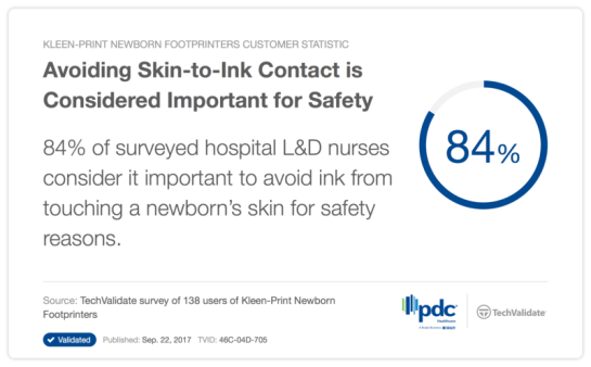 Techfact about the importance of avoiding skin-to-ink contact for newborns