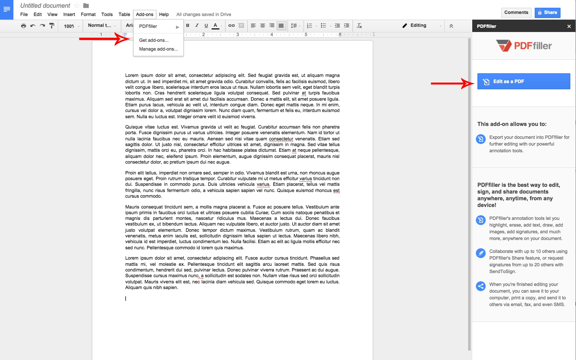 PDFfiller Google Docs Add-on: Expanding the Possibilities