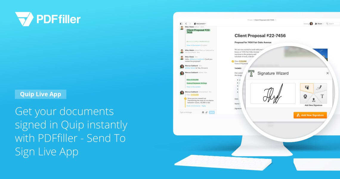 Close deals faster by getting Quip documents e-signed with Send To