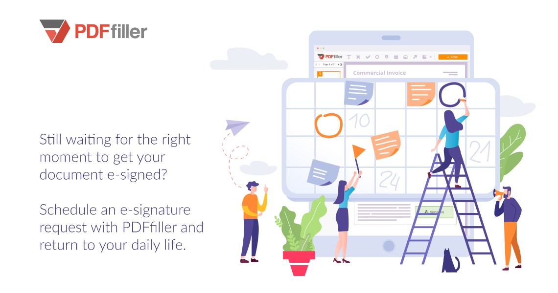 e-signature, securely share business documents, digital workflow, PDFfiller, schedule a document for signature, business automation