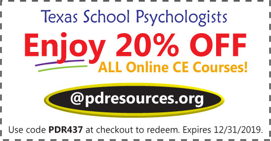 Texas School Psychologists can earn all 20 hours per renewal through online courses offered @pdresources.org. Over 100 online courses to choose from. Order now and save 20% on all online courses.