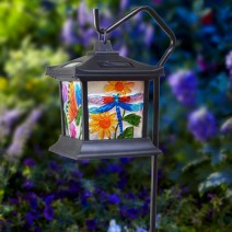 Solar LED hanging light with floral stained glass look